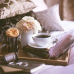 Coffee and Flowers in bed