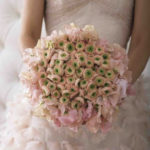 A green and light pink wedding