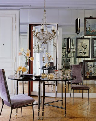 lisa fine paris dining room with mirrored walls adn chevron floor via belle vivir blog