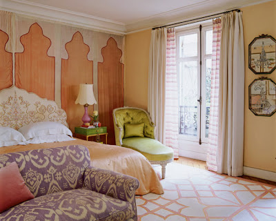lisa fine paris bedroo mwith a moorish headboard  via belle vivir blog