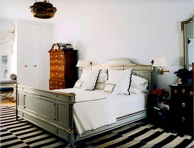 Jemma Jane Pilkingon bedroom with stripped black and white rug