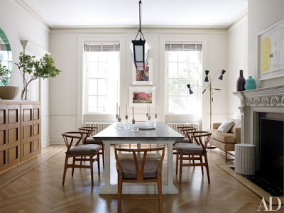 Chevron floors in home decor dining room
