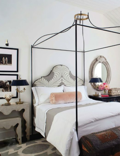 iron canopy bed with gold crown top