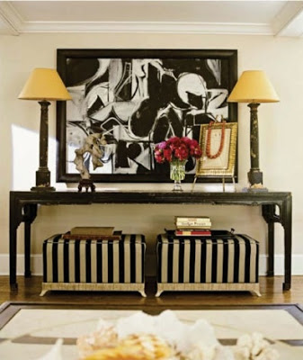 Interiors in black and white striped stool via belle vivir blog