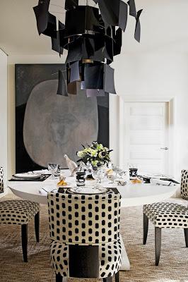 dining in black and white polka dot via belle vivir blog