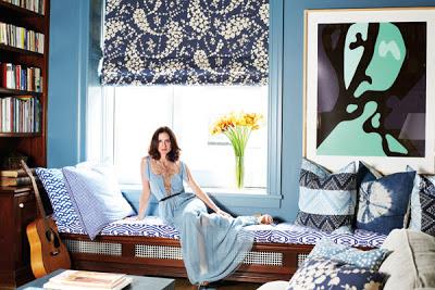 Patricia Herrera Lansing sits in her bedroom of her New York city apartment via belle vivir blog