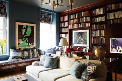 Patricia Herrera Lansing living room library of New York city apartment via belle vivir blog
