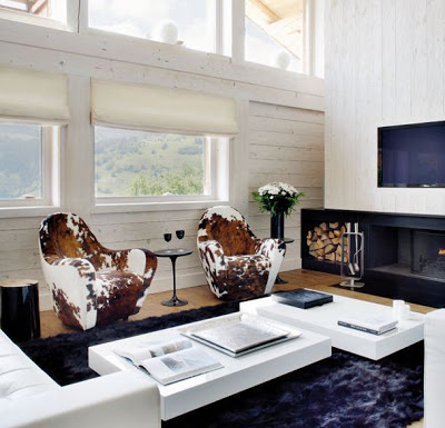 A Monochromatic Cabin in Megeve, living room