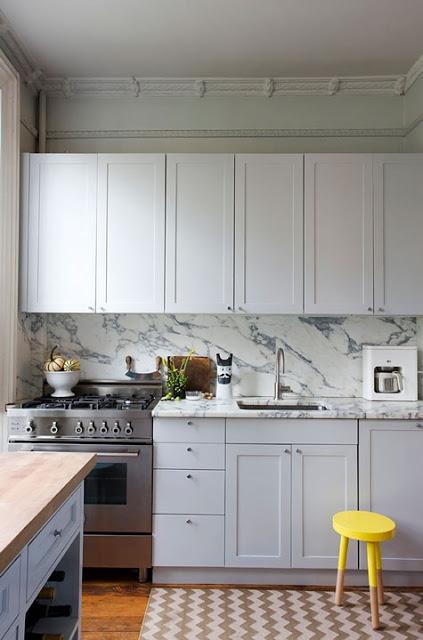 kitchen design with light color cabinets via belle vivir blog