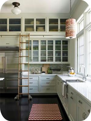 Light green kitchen cabinets via belle vivir blog