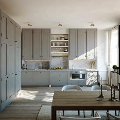 grey cabinet kitchen design via belle vivir blog