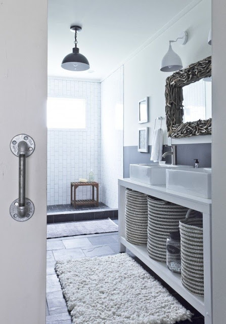 White Interiors, via belle vivir blog neutral color interior design bathroom in white and black and brown mirror