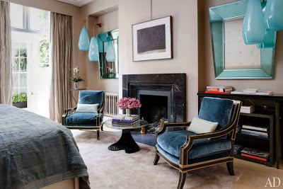 francis sultana design in london bedroom with fireplace