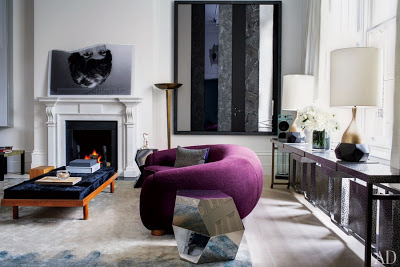 francis sultana design in london living room with purbple sofa