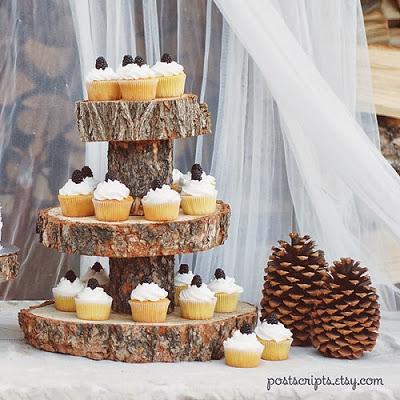 wooden cupcake tier