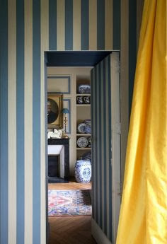 Jib door painted in blue and white stripes via belle vivir blog