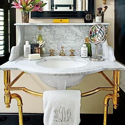 White Bathrooms With Brass Fixture