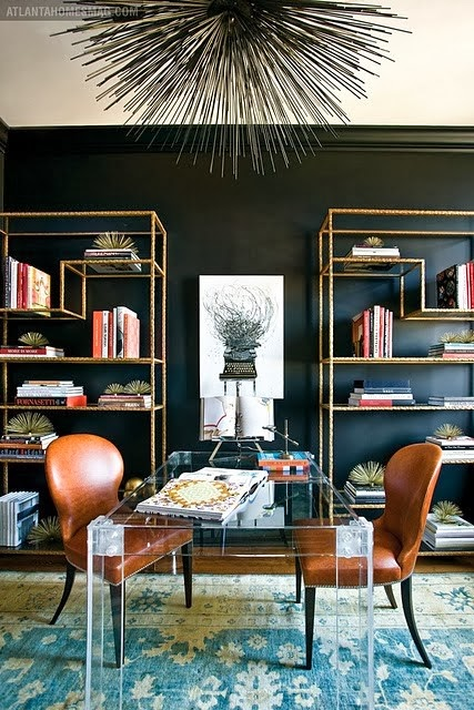 Black wall painted rooms, home office decorating ideas with black wall and gold atagere bookcases