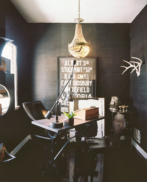 Black wall painted rooms, home office decor with black seagrass wallpaper