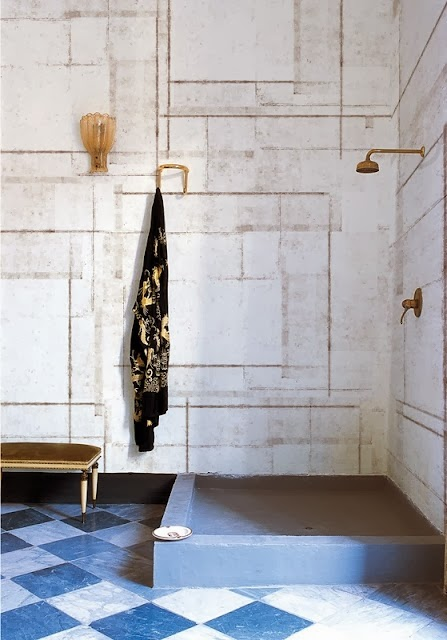White marble Bathroom with Brass Fixture