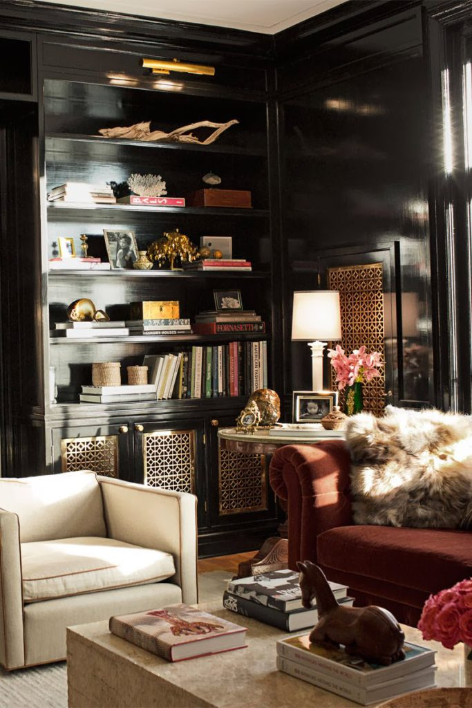 Black wall painted rooms, decorating ideas of black bookcases in a home office