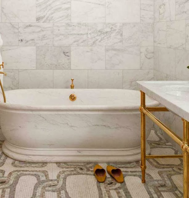 marble mosaic with brass