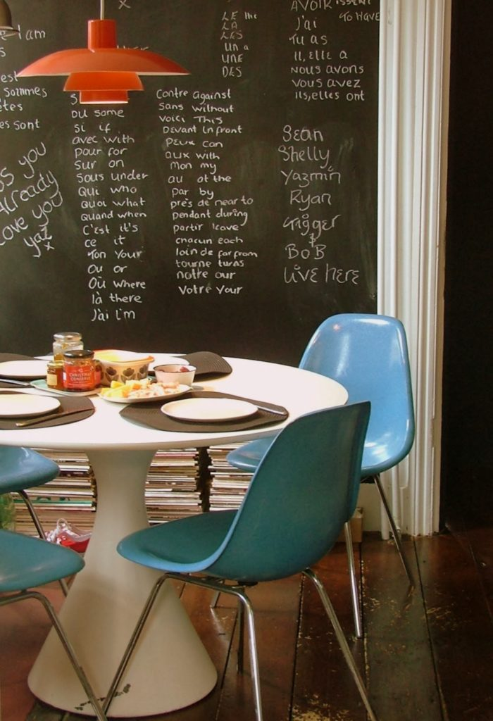 Black wall painted rooms, kitchen decor with black chalk board
