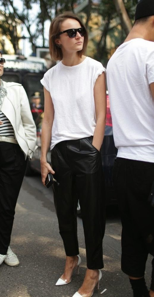 What to Wear on the Weekends, a girl wearing leather pants and white t-shirt with white stiletos