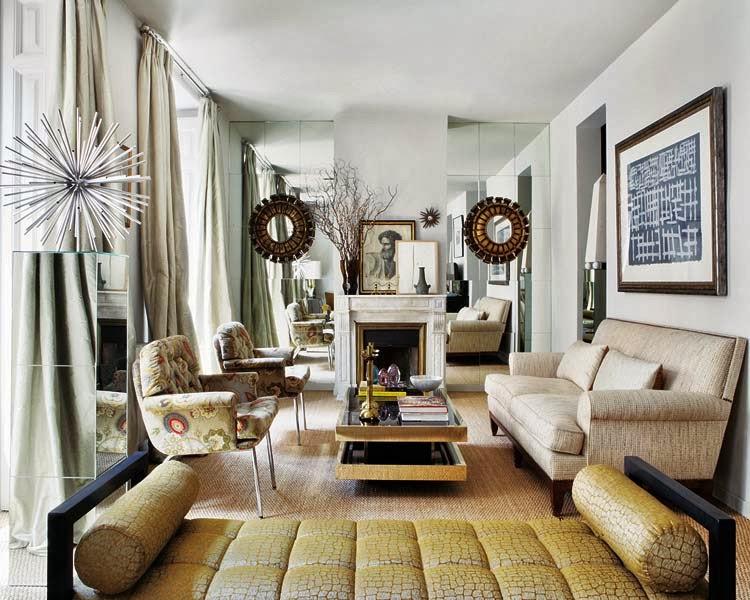 Estefania Carrero design living room with mirror wall