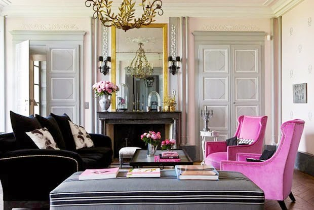 Pink Grey Living Room  Fuschia Arm Chairs Velvet Fireplace French France Gilles Trillard Cococozy
