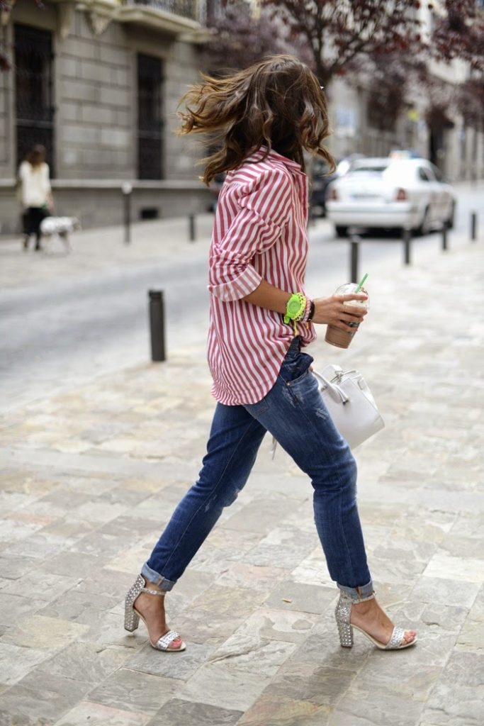 What to Wear on the Weekends, jeans with striped red and white shirt and high heel sandals