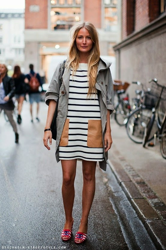 What to Wear on the Weekends, a woman wearing a horizontal striped dress in white and black and chanel open back sandals