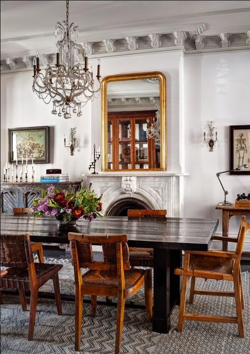 Jenna Lyons brooklyn Brownstone dining room via belle vivir blog