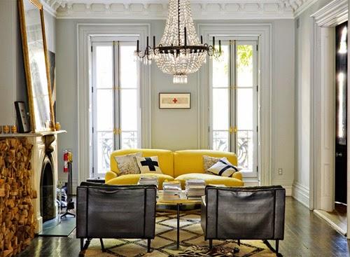 Jenna Lyons brooklyn living room with yellow sofa before via belle vivir blog