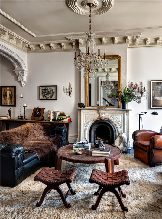 Jenna Lyons brooklyn Brownstone living room with rifeplace and masculine leather sofas after via belle vivir blog