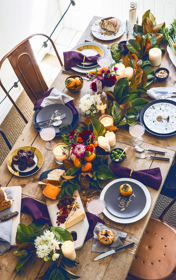 thanksgiving inspired table green and purple via belle vivir