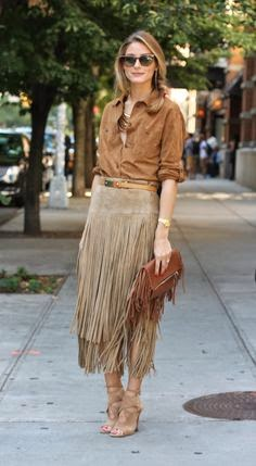 Olivia Palermo wears a suede fringe skirt via belle vivir
