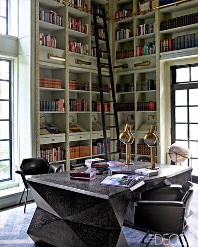 The most beautiful home library with green high bookcases via belle vivir