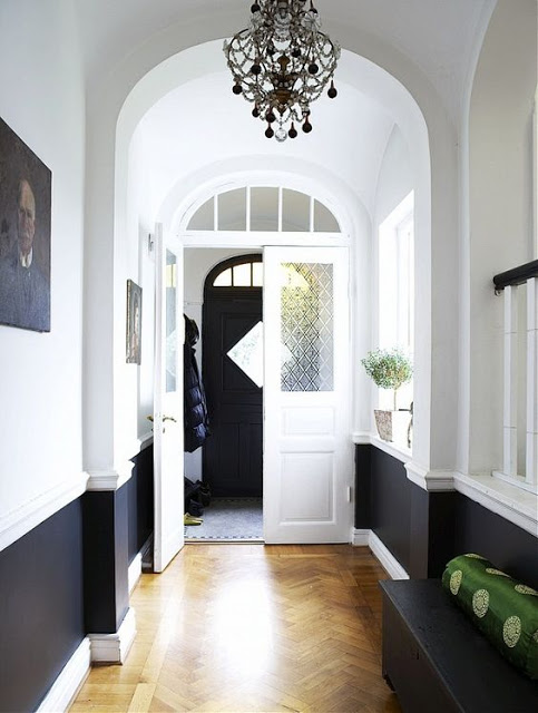 black and white half painted walls european design