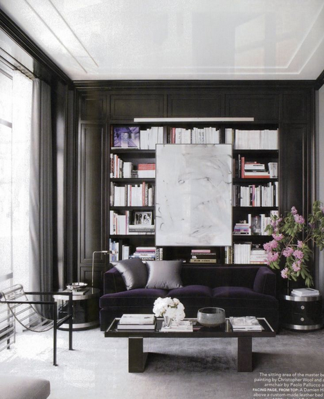 color black in Interiors, black bookcases with navy blue sofa