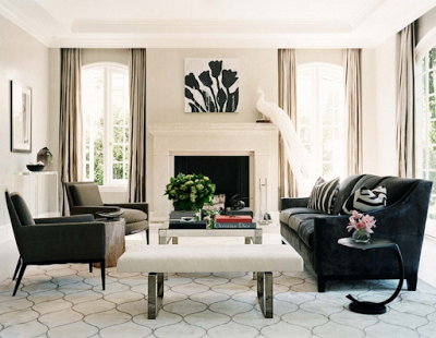 color black in Interiors, black and white living room with hugo guinness print the use of black in interiors via belle vivir blog