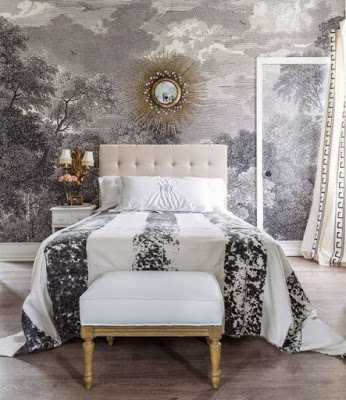 Grisailles 13 rooms with grisailles walls for Anthropologie etched arcadia mural