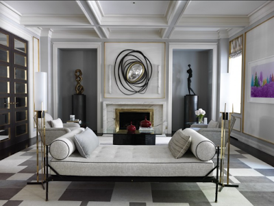 color black in Interiors, Jean Louis Deniot living room with fireplace and van der streaten mirror the use of black in interiors via belle vivir blog