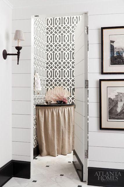 jib door bathroom with shiplap