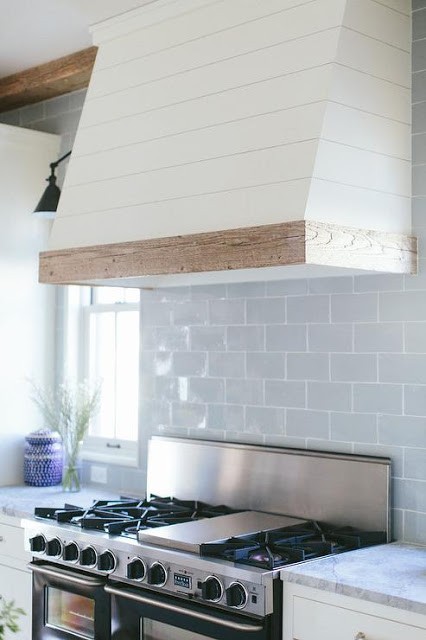 kitchen design covered hood with shiplap