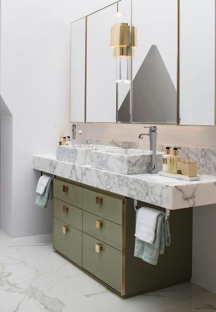 bathroom design white marble green drawers