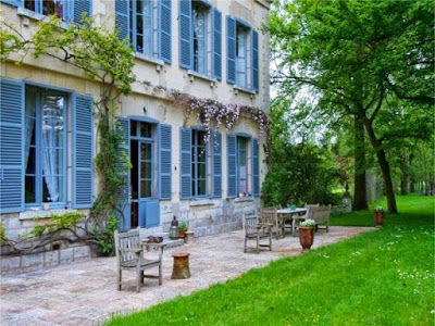 French chateau with blue shutters
