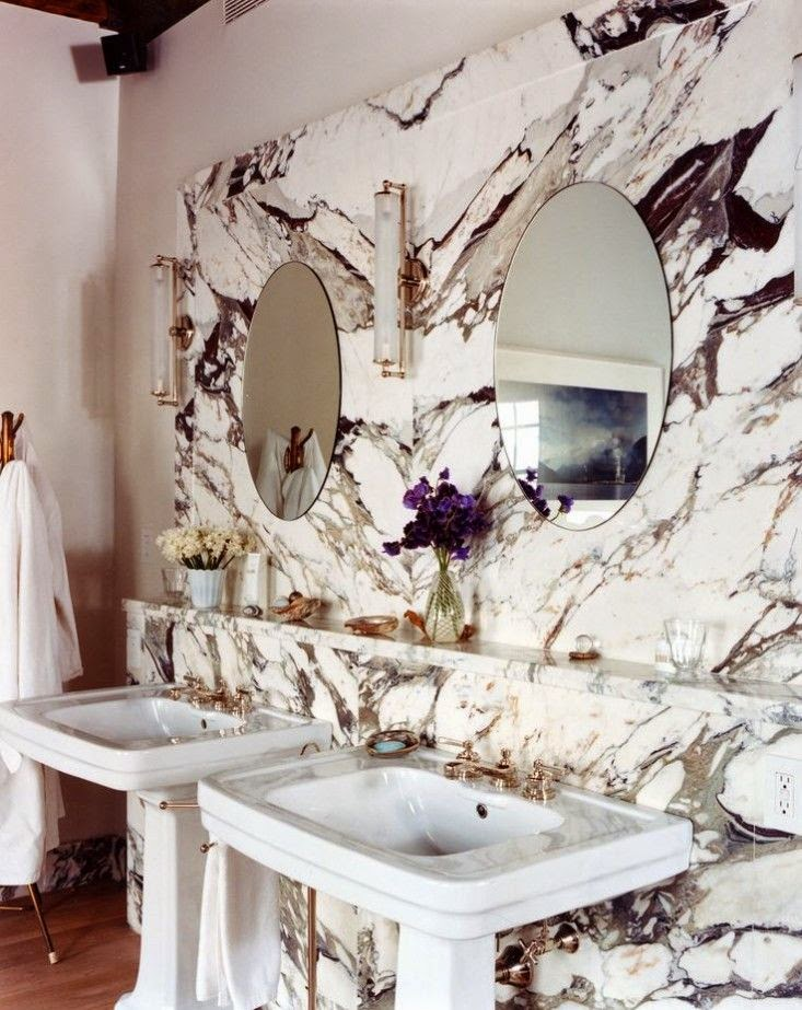 Heavily Veined Marble Bathrooms An Exclusive Detail