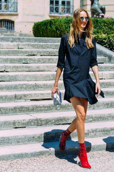 modern shirt dress with red boots