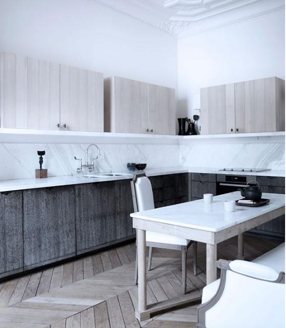 Gilles & Boissier design with rustic chevron floor, louis vxi chairs, via belle vivir blog